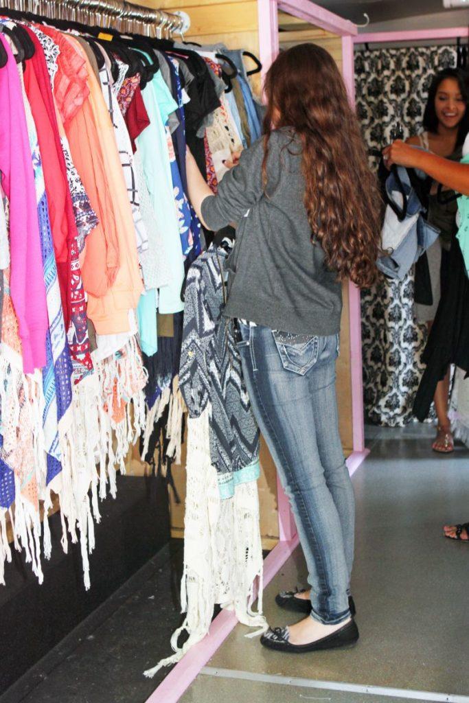 Shopper inside the mobile boutique